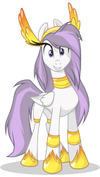 Size: 2135x3751 | Tagged: safe, artist:le-23, oc, oc only, oc:athena (shawn keller), pegasus, pony, barely pony related, eyelashes, female, grin, guardian of the three kingdoms, guardians of pondonia, high res, jewelry, looking at you, mare, margarita paranormal, necklace, pegasus oc, regalia, simple background, smiling, solo, transparent background, vector