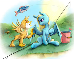 Size: 1476x1181 | Tagged: safe, artist:fixablom, oc, oc only, oc:beaky, oc:brave blossom, fish, griffon, pegasus, pony, fanfic:yellow feathers, bucket, duo, female, fishing, fishing rod, griffon oc, jewelry, male, mother and child, mother and son, necklace, tree