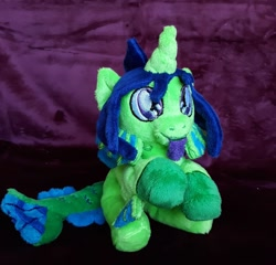 Size: 1280x1230 | Tagged: safe, artist:sonic-spatula, oc, oc:demon hellspawn, half-siren, hybrid, baby, colored hooves, commission, curved horn, fins, fish tail, horn, irl, magical gay spawn, male, offspring, photo, plushie, scales, tongue out