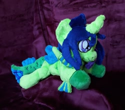 Size: 1280x1126 | Tagged: safe, artist:sonic-spatula, oc, oc:demon hellspawn, half-siren, hybrid, baby, colored hooves, commission, curved horn, fins, fish tail, horn, irl, magical gay spawn, male, offspring, photo, plushie, scales, tongue out