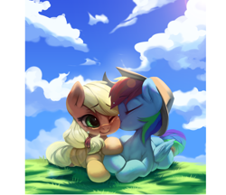Size: 4060x3507 | Tagged: safe, artist:theprince, applejack, rainbow dash, earth pony, pegasus, pony, accessory swap, appledash, applejack's hat, cheek kiss, cheek squish, cloud, cloudy, complex background, cowboy hat, cute, dashabetes, daytime, digital art, eyes closed, female, folded wings, foreshortening, freckles, grass, hair tie, hat, hatless, jackabetes, kissing, lens flare, lesbian, lying down, mare, missing accessory, multicolored hair, one eye closed, painting, prone, shipping, signature, sky, smiling, squishy cheeks, sunny day, sunshine, touching hooves, wings