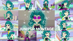 Size: 1974x1111   Tagged: safe, edit, edited screencap, editor:quoterific, screencap, juniper montage, leafy mint, mint chip, equestria girls, mirror magic, spoiler:eqg specials, angry, canterlot mall, collage, female, giantess, glowing eyes, grin, juniper monstar, macro, magic, male, smiling