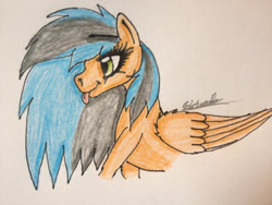 Size: 960x720   Tagged: safe, artist:beamybutt, oc, oc only, pegasus, pony, :p, bust, eyelashes, female, mare, pegasus oc, signature, solo, tongue out, traditional art, wings