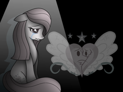 Size: 1670x1251 | Tagged: safe, artist:muhammad yunus, oc, oc only, oc:annisa trihapsari, earth pony, pony, series:the return of annisa, base used, black background, crying, cutie mark, earth pony oc, female, floppy ears, heartbreak, lost, mare, medibang paint, simple background, solo