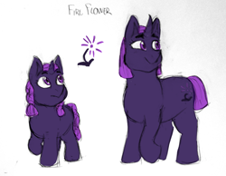 Size: 1280x994 | Tagged: safe, artist:verikoira, oc, oc only, oc:fire flower, pony, unicorn, female, filly, magical lesbian spawn, mare, offspring, parent:tempest shadow, parent:twilight sparkle, parents:tempestlight, solo, traditional art