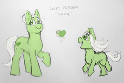 Size: 1280x858 | Tagged: safe, artist:verikoira, oc, oc only, oc:sweet alyssum, earth pony, pony, female, filly, magical lesbian spawn, mare, offspring, parent:fluttershy, parent:tree hugger, parents:flutterhugger, solo, traditional art