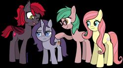 Size: 1300x727 | Tagged: safe, artist:catachromatic, derpibooru exclusive, oc, oc:jubilant, oc:ruby seed, oc:smooth cream, unnamed oc, bat pony, earth pony, pony, unicorn, annoyed, bags under eyes, bat pony oc, earth pony oc, fangs, freckles, full body, glasses, group, group shot, grumpy, horn, not fluttershy, short, unicorn oc, watermark
