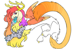 Size: 3000x2000 | Tagged: safe, artist:gingygin, oc, oc only, oc:celia, draconequus, hybrid, female, interspecies offspring, offspring, parent:discord, parent:princess celestia, parents:dislestia, simple background, solo, white background