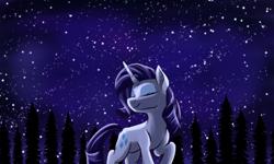 Size: 2000x1200 | Tagged: safe, artist:redahfuhrerking, rarity, pony, eyes closed, night, rarara, solo, stars, tree