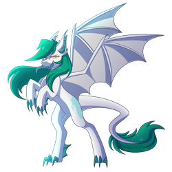 Size: 3000x3000 | Tagged: safe, artist:greenmaneheart, oc, oc:cyan, dracony, dragon, hybrid, female, rearing, simple background, solo, transparent background