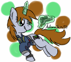 Size: 747x655 | Tagged: safe, artist:pegasski, oc, oc only, oc:littlepip, pony, unicorn, fallout equestria, abstract background, clothes, glowing horn, horn, magic, solo, telekinesis, vault suit