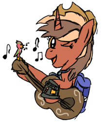Size: 433x516 | Tagged: safe, artist:pegasski, oc, oc only, pony, unicorn, backpack, bust, guitar, hat, horn, musical instrument, one eye closed, simple background, solo, transparent background, unicorn oc, wink