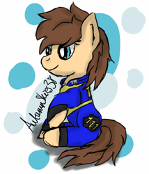 Size: 612x716 | Tagged: safe, artist:pegasski, oc, oc only, earth pony, pony, fallout equestria, abstract background, clothes, earth pony oc, eyelashes, sitting, smiling, solo, vault suit