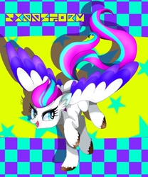 Size: 980x1178 | Tagged: safe, artist:stacy_165cut, zipp storm, pegasus, pony, g5, abstract background, adorazipp, colored wings, cute, ear fluff, eyelashes, female, mare, multicolored wings, open mouth, raised hoof, shadow, solo, spread wings, stars, text, unshorn fetlocks, wings