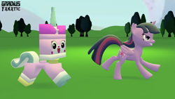 Size: 3413x1920 | Tagged: safe, artist:gradiusfanatic, twilight sparkle, alicorn, 3d, crossover, race, racing, source filmmaker, twilight sparkle (alicorn), unikitty