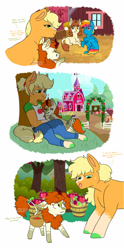 Size: 1280x2584 | Tagged: safe, artist:moccabliss, applejack, autumn blaze, oc, oc:pumpkin patch, oc:sunny side up, earth pony, hybrid, kirin, pegasus, pony, anthro, unguligrade anthro, autumnjack, barn, caught, colt, female, filly, hatless, interspecies offspring, larger female, lesbian, lying down, magical lesbian spawn, male, mare, missing accessory, oc x oc, offspring, offspring shipping, parent:applejack, parent:autumn blaze, parent:rainbow dash, parent:soarin', parents:autumnjack, parents:soarindash, prone, shipping, size difference, smaller female, straight, sweet apple acres