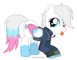 Size: 1200x942   Tagged: safe, artist:jennieoo, oc, oc:star lilly, pegasus, pony, fallout equestria, clothes, cute, fallout, heterochromia, pipboy, solo, tongue out, vault 22, vault suit