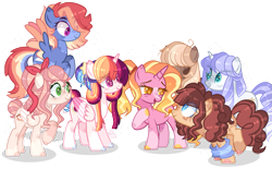 Size: 1137x703 | Tagged: safe, artist:skylerdream07, luster dawn, oc, oc:apple biscuit, oc:astral star, oc:chocolate pie, oc:rainbow wind, oc:royal crown, oc:sweet cake, alicorn, earth pony, pegasus, pony, unicorn, alicorn oc, base used, colored pupils, colored wings, colored wingtips, earth pony oc, eye clipping through hair, female, hair over one eye, hair ribbon, half-siblings, heart eyes, horn, magical lesbian spawn, mare, multicolored wings, next generation, offspring, parent:applejack, parent:big macintosh, parent:caramel, parent:cheese sandwich, parent:fancypants, parent:fluttershy, parent:pinkie pie, parent:rainbow dash, parent:rarity, parent:soarin', parent:twilight sparkle, parents:carajack, parents:cheesepie, parents:fluttermac, parents:raripants, parents:soarindash, parents:twidash, pegasus oc, simple background, socks (coat markings), sweatband, transparent background, unicorn oc, wingding eyes, wings