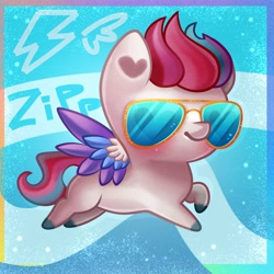 Size: 4000x4000 | Tagged: safe, artist:irinamar, zipp storm, pegasus, pony, g5, abstract background, absurd resolution, adorazipp, blushing, chibi, colored wings, cute, female, glasses, heart, multicolored wings, raised hoof, solo, spread wings, sunglasses, unshorn fetlocks, wings