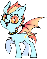 Size: 1067x1334   Tagged: source needed, safe, artist:flutterbree, oc, oc only, oc:eyeburner mcgee, bat pony, pony, bat pony oc, beanbrows, collar, eyebrows, fangs, raised hoof, simple background, solo, spiked collar, starry eyes, white background, wingding eyes