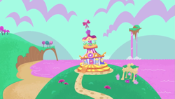 Size: 1147x645 | Tagged: safe, screencap, rarity, pony, unicorn, my little pony: pony life, pony life, the rarest of occasions, spoiler:pony life s02e15, carousel boutique, cloud, gem, no pony, scenery