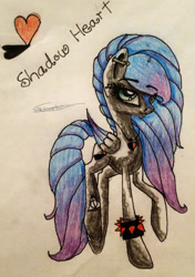Size: 1811x2574 | Tagged: safe, artist:beamybutt, oc, oc only, oc:shadow heart, pegasus, pony, ear piercing, eyelashes, female, mare, pegasus oc, piercing, raised hoof, solo, spiked wristband, traditional art, wings, wristband
