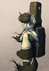 Size: 1800x2600 | Tagged: safe, artist:ohemo, octavia melody, earth pony, anthro, cello case, clothes, female, high res, looking at you, mare, purple eyes, skirt, smiling, solo, uniform