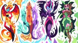 Size: 2386x1319 | Tagged: safe, artist:poppyr0ckz, adagio dazzle, aria blaze, gaea everfree, sonata dusk, sunset shimmer, twilight sparkle, siren, equestria girls, equestria girls (movie), friendship games, legend of everfree, rainbow rocks, antagonist, evil grin, female, grin, midnight sparkle, smiling, sunset satan, the dazzlings