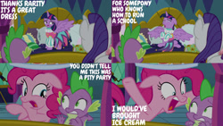 Size: 1280x720 | Tagged: safe, edit, edited screencap, editor:quoterific, screencap, pinkie pie, rarity, spike, twilight sparkle, alicorn, dragon, earth pony, pony, unicorn, school daze, clothes, crying, dress, eyes closed, female, male, mare, open mouth, sad, spread wings, stallion, twilight sparkle (alicorn), twilight's castle, wings