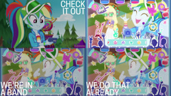 Size: 1280x720 | Tagged: safe, edit, edited screencap, editor:quoterific, screencap, applejack, rainbow dash, equestria girls, equestria girls series, festival filters, spoiler:eqg series (season 2), ^^, cellphone, crossed arms, cute, dashabetes, devil horn (gesture), duo, duo female, eyes closed, female, filters, geode of super strength, magical geodes, music festival outfit, open mouth, phone, smartphone, smiling