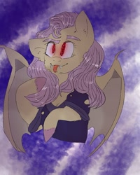 Size: 899x1123 | Tagged: safe, artist:cocolove2176, fluttershy, bat pony, pony, :p, abstract background, bat ponified, bat wings, bust, clothes, colored hooves, female, flutterbat, glowing eyes, mare, race swap, solo, tongue out, wings