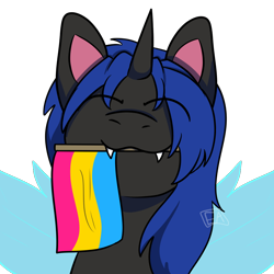 Size: 1000x1000 | Tagged: safe, artist:emmettart, oc, oc only, oc:swift dawn, changeling, blue changeling, bust, changeling oc, commission, cute, cuteling, eyebrows, eyebrows visible through hair, eyes closed, fangs, happy, holding a flag, looking at you, male, ocbetes, pansexual pride flag, portrait, pride, pride flag, simple background, smiling, smiling at you, solo, stallion, transparent background, ych result