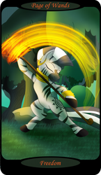 Size: 1500x2591 | Tagged: safe, artist:sixes&sevens, zecora, zebra, bipedal, ear piercing, earring, everfree forest, eyes closed, female, fire, jewelry, minor arcana, page of wands, piercing, rock, solo, staff, tarot card, tree