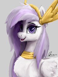 Size: 1536x2048 | Tagged: safe, artist:raphaeldavid, oc, oc only, oc:athena (shawn keller), pegasus, pony, armor, bust, chest fluff, ear fluff, female, gray background, guardians of pondonia, looking at you, signature, simple background, smiling, solo
