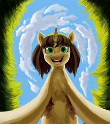 Size: 3614x4096 | Tagged: safe, artist:misstwipietwins, oc, oc:elinvar, pony, unicorn, looking at you, looking down, looking down at you, worm's eye view