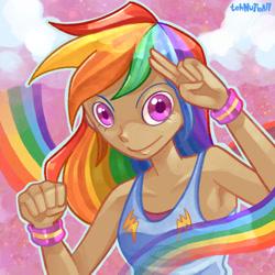 Size: 1280x1280 | Tagged: safe, artist:tehnutball, rainbow dash, human, armpits, clothes, fist, humanized, rainbow, salute, tanktop