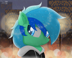 Size: 2000x1625 | Tagged: safe, artist:jadebreeze115, oc, oc:jade breeze, pegasus, pony, black hoodie, building, calm, city, cloud, cloudy, ear fluff, ethereal mane, eye glow, lamppost, looking at you, morning, original art, pegasus oc, rain, solo, tree