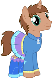 Size: 1516x2262 | Tagged: safe, artist:peternators, oc, oc:heroic armour, pony, unicorn, equestria girls, boots, clothes, clothes swap, cosplay, costume, crossdressing, crossplay, dress, equestria girls outfit, hoodie, male, shoes, simple background, stallion, transparent background