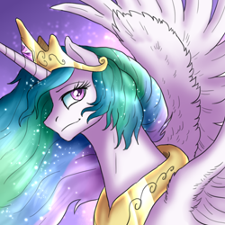 Size: 1000x1000 | Tagged: safe, artist:not-ordinary-pony, derpibooru exclusive, princess celestia, alicorn, abstract background, female, mare, smiling, solo