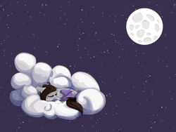 Size: 2048x1536 | Tagged: safe, artist:alrumoon.art, oc, oc only, bat pony, cloud, moon, night