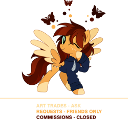 Size: 926x863 | Tagged: safe, artist:inaactive, oc, oc only, oc:goldi, butterfly, pegasus, advertisement, art trade, clothes, coat markings, colored wings, commission, commission info, cute, drawstrings, freckles, hoodie, looking at you, movie accurate, multicolored wings, ocbetes, one eye closed, pegasus oc, profile, raised hoof, request, socks (coat markings), two toned mane, two toned wings, wings, wink, winking at you