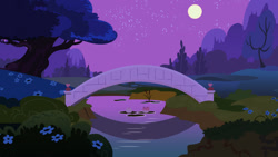 Size: 900x507 | Tagged: safe, luna eclipsed, season 2, background, bridge, full moon, moon, mountain, night, no pony, scenery