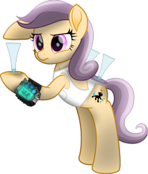 Size: 2790x3277   Tagged: safe, artist:lincolnbrewsterfan, derpibooru exclusive, oc, oc only, oc:caprice, earth pony, fallout equestria, fallout equestria: project horizons, my little pony: the movie, .svg available, alcohol, belly button, bipedal, bipedal leaning, clothes, confused, delta pipbuck, earth pony oc, fallout equestria oc, fanfic art, female, glowing, heart, heart hoof, high res, holding, inkscape, leaning, looking at someone, looking at something, mare, martini, martini glass, movie accurate, neck line, pipbuck, pipbuck 3000, pocket, pointing, ribbon, serving, serving tray, shading, shirt, silhouette, simple background, sleeveless, sleeveless shirt, streamers, svg, transparent background, vector, white shirt