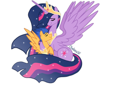 Size: 2388x1668 | Tagged: safe, artist:chelseawest, flash sentry, twilight sparkle, alicorn, pegasus, pony, couple, crown, cuddling, cutie mark, ethereal mane, ethereal tail, eyes closed, female, flashlight, height difference, hoof shoes, horn, husband and wife, jewelry, male, mare, married couple, older, older twilight, peytral, princess twilight 2.0, regalia, shipping, size difference, spread wings, stallion, starry mane, starry tail, straight, twilight sparkle (alicorn), wings