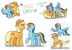 Size: 2125x1476   Tagged: safe, artist:ecchiorange0317, applejack, rainbow dash, earth pony, pegasus, pony, appledash, blushing, cheek kiss, cutie mark, digital art, exclamation point, eyes closed, facing each other, female, flying, hat, heart, kissing, lesbian, looking at each other, looking down, looking up, lying down, multicolored mane, on back, on top, open mouth, protecting, rain, raised hoof, running, shipping, simple background, size difference, smiling, spread wings, standing over, tongue out, tsundere, wet, wet mane, white background, wingboner, wings