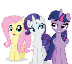 Size: 555x495   Tagged: artist needed, safe, fluttershy, rarity, twilight sparkle, alicorn, pegasus, pony, unicorn, female, looking at you, open mouth, simple background, teeth, transparent background, trio, trio female, twilight sparkle (alicorn), vector, white outline