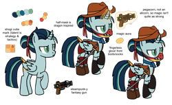 Size: 2000x1224   Tagged: safe, artist:flipwix, oc, oc only, oc:critical strike (ice1517), alicorn, bat pony, bat pony alicorn, pony, alicorn oc, armor, bat pony oc, bat wings, boots, clothes, cowboy, cowboy boots, curved horn, dungeons and dragons, fingerless gloves, gloves, gun, half mask, handgun, horn, male, mask, pen and paper rpg, raised hoof, reference sheet, revolver, rpg, samurai, shoes, simple background, solo, stallion, transparent background, vest, weapon, wings