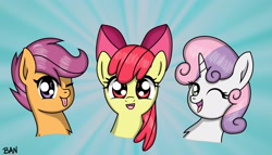 Size: 3120x1780 | Tagged: safe, artist:banquo0, apple bloom, scootaloo, sweetie belle, earth pony, pegasus, pony, unicorn, :p, adorabloom, apple bloom's bow, bow, bust, cute, cutealoo, cutie mark crusaders, diasweetes, female, filly, freckles, hair bow, looking at you, one eye closed, open mouth, simple background, tongue out, wink