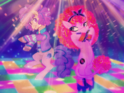 Size: 1500x1125 | Tagged: safe, artist:equmoria, artist:pigeorgien, oc, oc only, oc:lovelight the dancing queen, oc:retrica, earth pony, pony, bipedal, clothes, collaboration, curly hair, dancing, disco, duo, ear piercing, earring, eyeshadow, female, jewelry, leonine tail, makeup, mare, piercing, roller skates, unshorn fetlocks