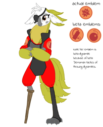 Size: 2376x2907 | Tagged: safe, artist:agdapl, parrot pirates, my little pony: the movie, amputee, crossed arms, crossover, demoman, eyepatch, peg leg, prosthetic leg, prosthetic limb, prosthetics, reference sheet, simple background, solo, species swap, team fortress 2, white background